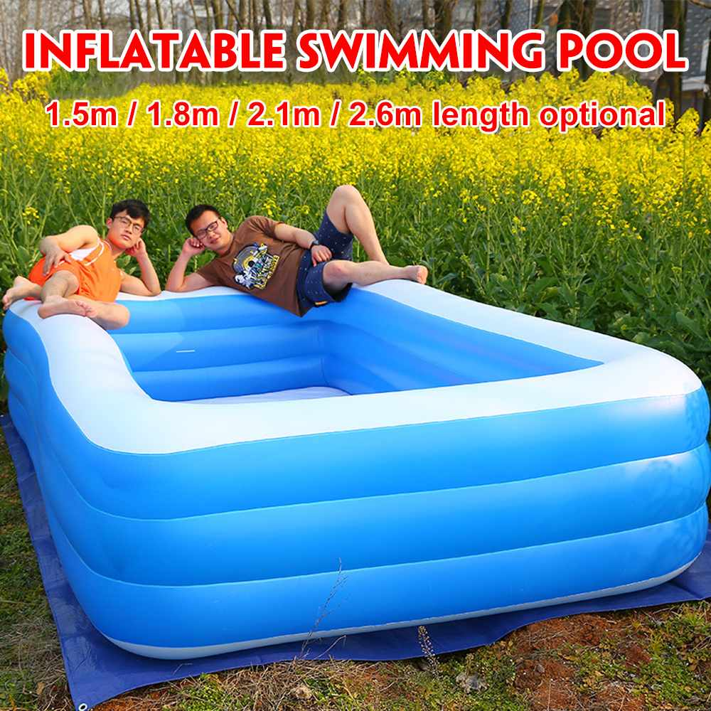 1.5m/1.8m/2.1m/2.6m Adults Kids Inflatable Swimming Pool Baby Bathing Tub Outdoor Indoor Home Use Paddling Pool Swimming Pool