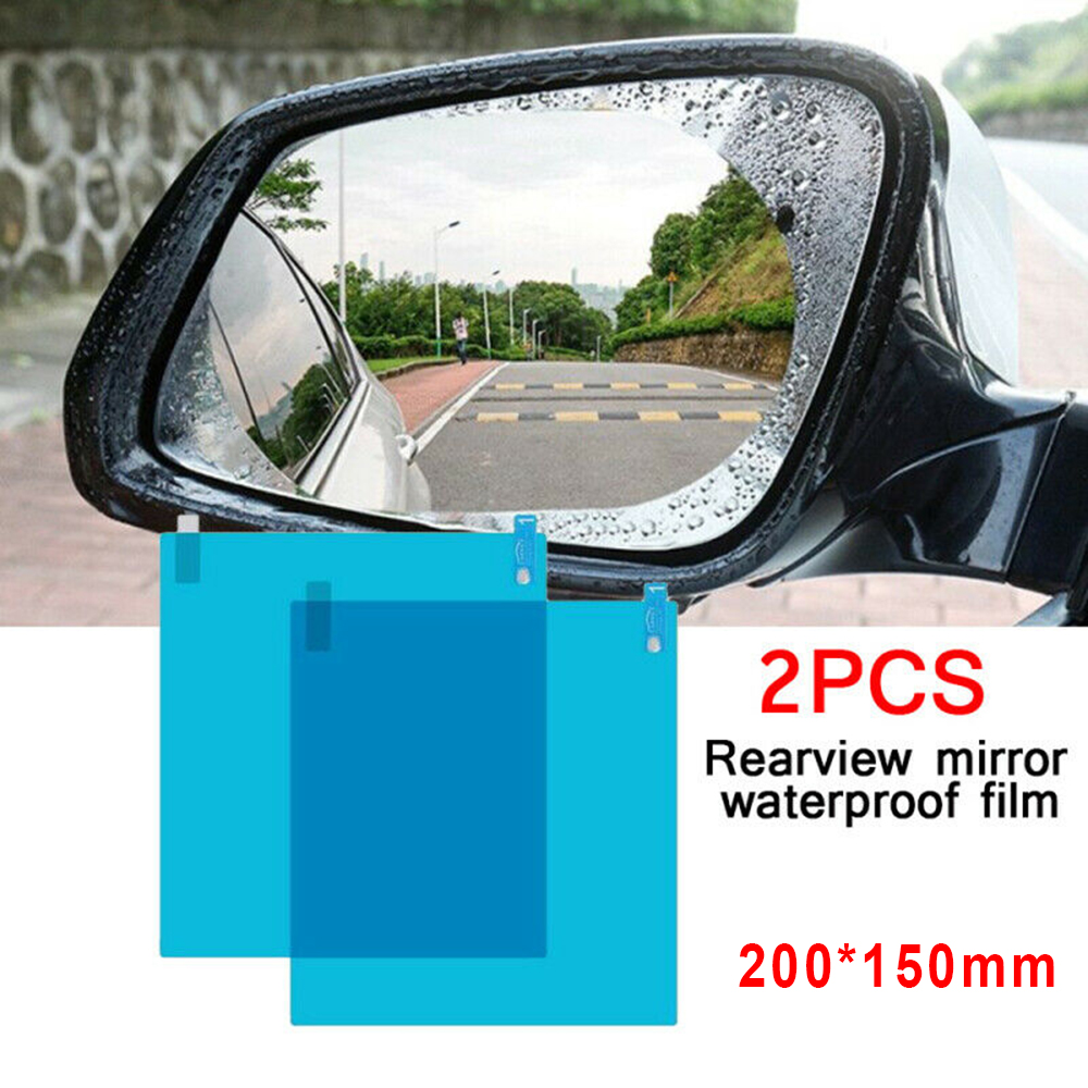 2pcs Square Car Rearview Mirror Anti-Fog Waterproof Protective Film Accessories PET+Nano Coating Films