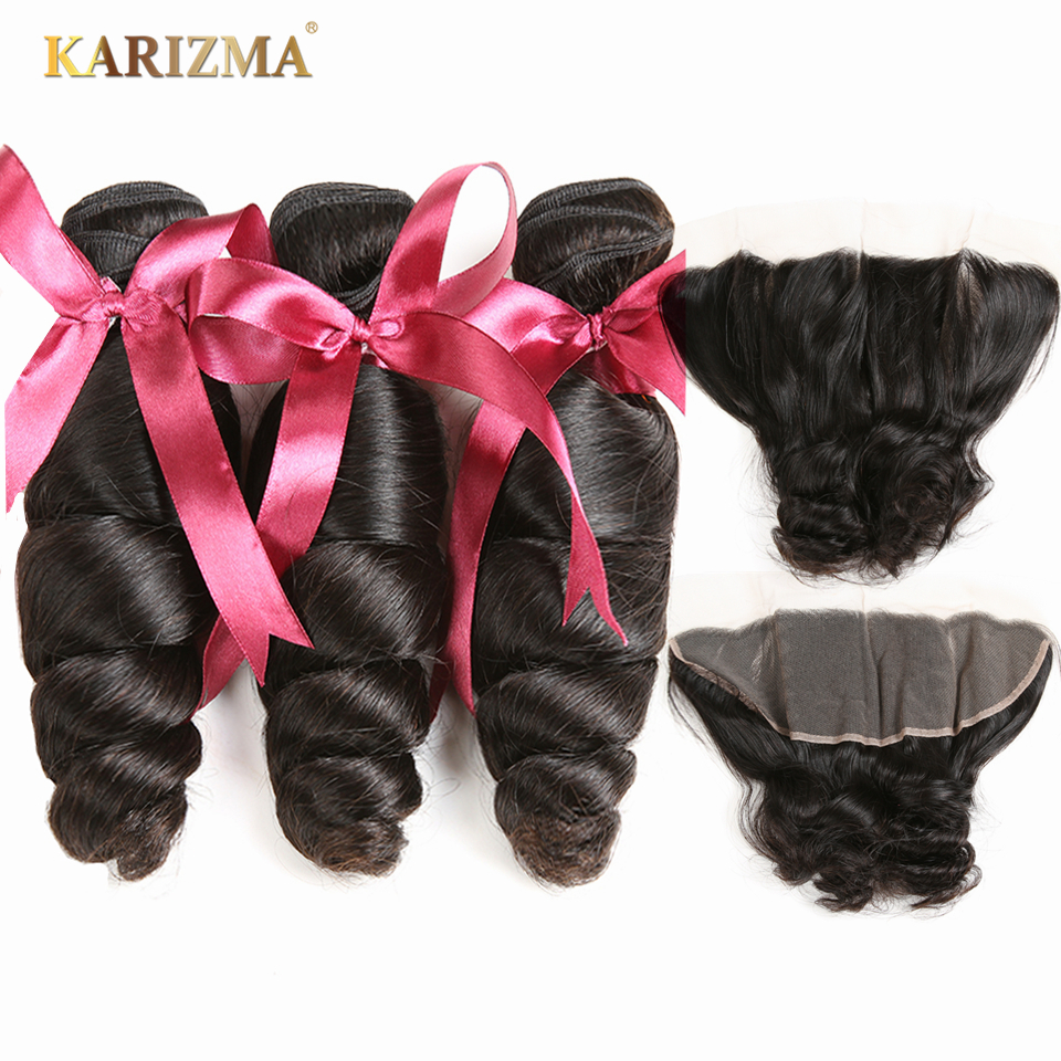 Karizma Loose Wave Bundles With Frontal 4 Pcs Human Hair Weaves Peruvian Hair 3 Bundles With Frontal 13X4 Lace Closure Non Remy