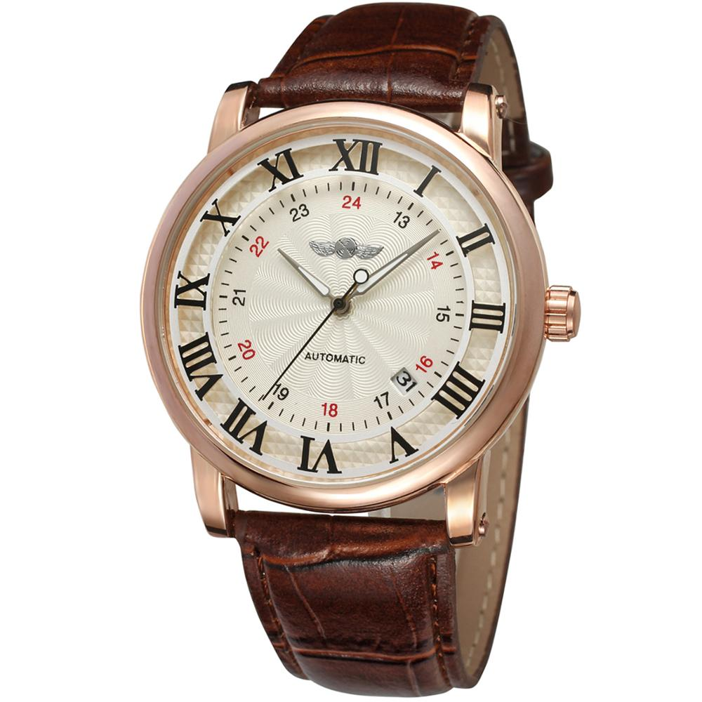WINNER Fashion Trend Men's And Women's Leather Watches With Calendar Watches Automatic Mechanical Wrist Watches