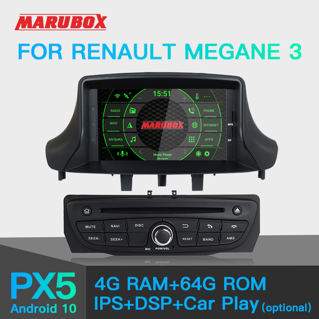 Marubox KD7237 PX5นำทางGPSเครื่องเล่นวิทยุรถยนต์สำหรับRenault Megane 3,เครื่องเล่นมัลติมีเดีย,Android 10.0