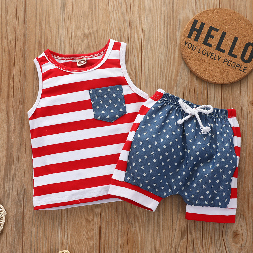 Unique Baby Boys Patriotic Flag Stars Stripes 4th of July Shorts Set