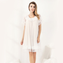 New Pyjamas Women'S Summer Mesh Double-Layer Solid Color Lace Princess Short-Sleeved Nightdress Large Size Home Service D180111 new pyjamas women s summer mesh double layer solid color lace princess short sleeved nightdress large size home service d180111