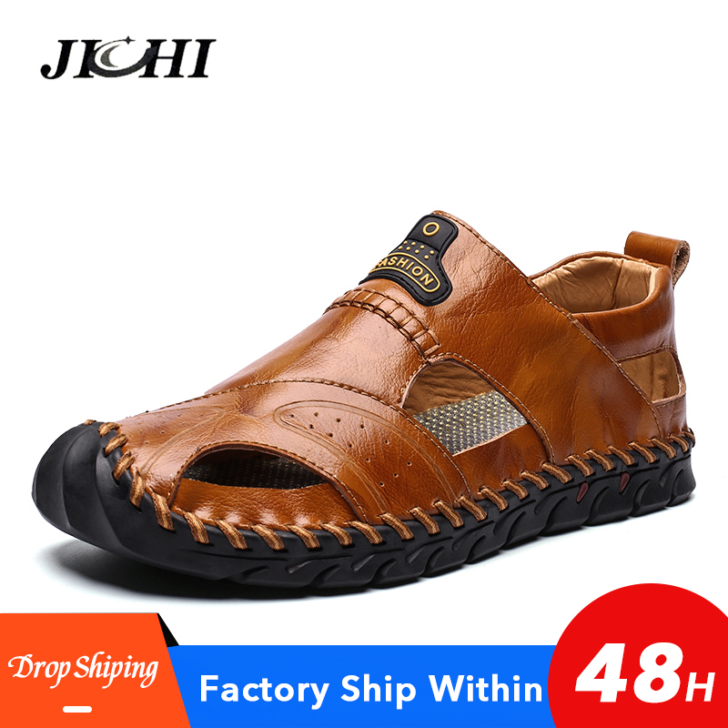 Classic Black Soft Men Shoes Covered Toes Summer Beach Sandals Leather Flat Big Size Sandals Men Breathable Non Slip Fashion