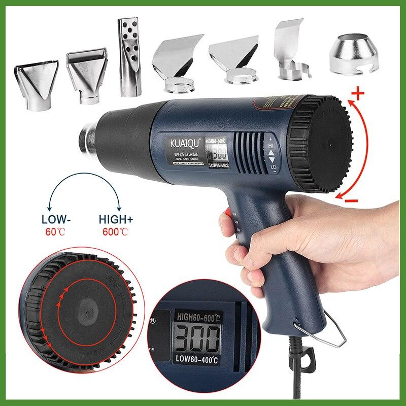 220V EU LCD Digitals Display Hot Air Gun Industrial Plastic Welding Torch Wind Rushing Machine Baking Heat Shrinkable Hair Dryer