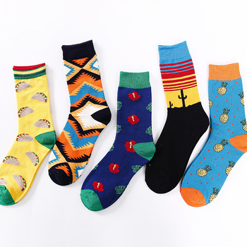 Socks Men Lovers Literature and Art Hip Hop Abstraction Happy  Personality Weed Kanye West Mens Cotton Compression