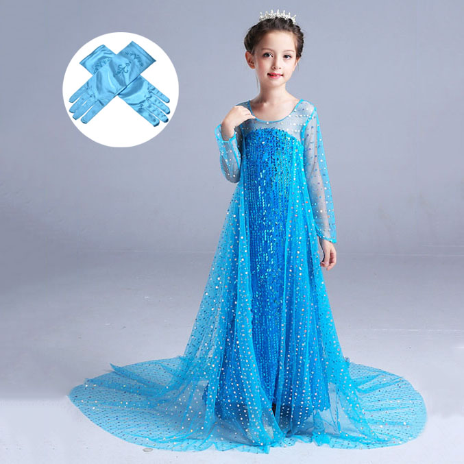 3PC Childrens Girls Elsa Frozen Queen Dress Gown Tiara Crown Wand Costume