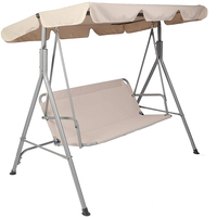 Beige-3 Person Porch Swing with Stand and Waterproof Canopy Swing Bench