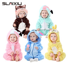 Baby Girl Clothes Rompers Cartoon Combinaison Stitch New Born Baby Clothes Costumes Ropa bebe Winter Flannel Kawaii 0-24M(China)