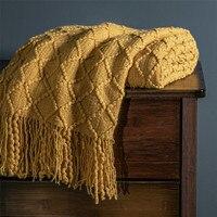 Cobertores de malha quente para cama inverno capa de sofá colcha anti-pilling cobertor macio cor sólida em relevo cobertor nórdico decoração