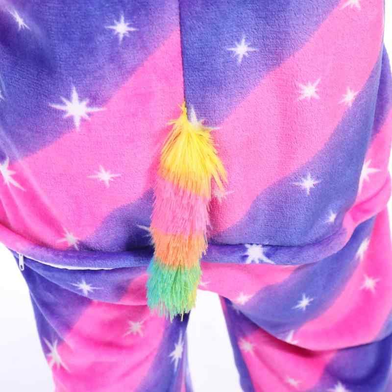 בנות בני חורף Unicorn Kigurumi פיג 'מה Cartoon אנימה בעלי החיים Onesies ילדים הלבשת פלנל חם סרבל ילדי פיג' מה