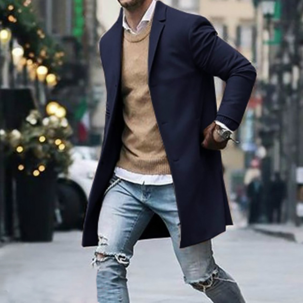 Men's Overcoat Fashion Autumn Winter Button Slim Long Sleeve Suit Jacket Trench Coat Casual high quality Mens Tops Blouse 020New 22