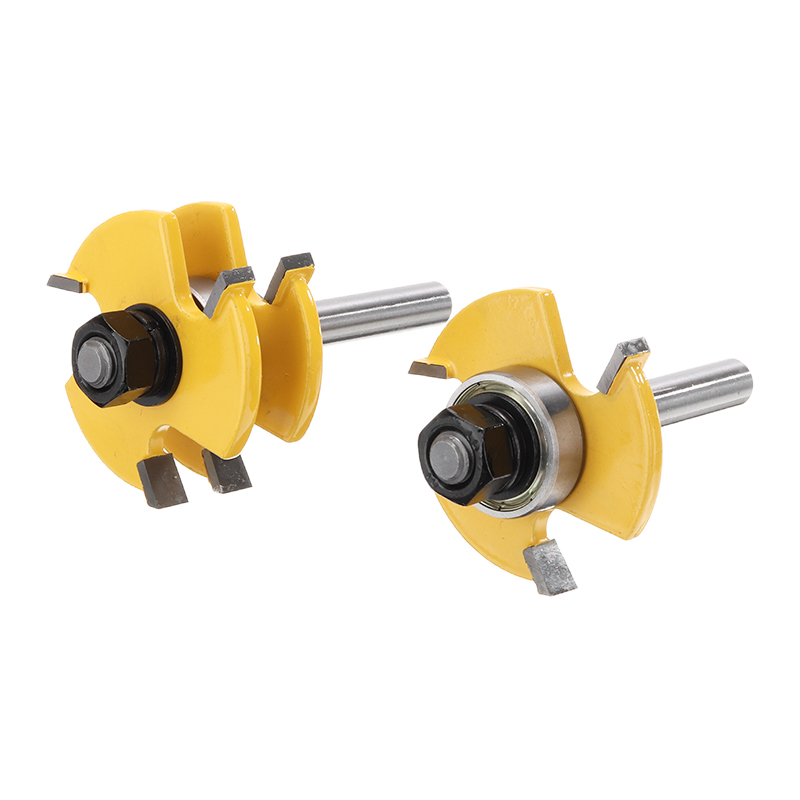 2pcs 8mm Shank Tongue & Groove Router Bit T-type 3-tooth Mortise Cutter Set Woodwoorking Grove Tool Parts