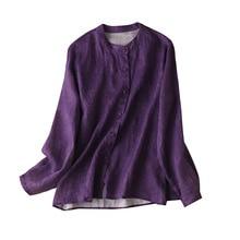 100% Linen Casual Shirts Women 2020 Long Sleeve Bluzki Letnie Damskie Womens Clothing blouses mujer de moda verano