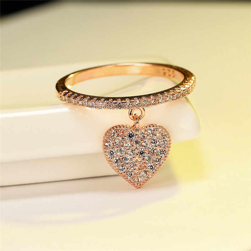 귀여운 하트 펜던트 화이트 지르콘 반지 옐로우 골드/화이트 골드/로즈 골드 약혼 약속 반지 여성 웨딩 쥬얼리