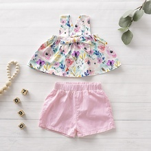 Breathable Dress Suit For Summer Baby Girls Casual Soft Material Strap Floral Print T-shirt Shorts Suits Costume Leisure Set