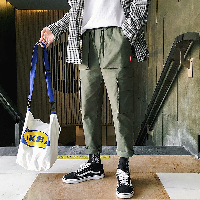 Spring Summer Korean-style MEN'S Overalls Street Solid Color Simple Trend Ulzzang Loose Casual Straight-Leg Pants