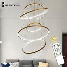 จี้โคมไฟโคมไฟ LED จี้โมเดิร์นสำหรับห้องนั่งเล่นห้องรับประทานอาหารวงกลมแหวนอะคริลิคอลูมิเนียม