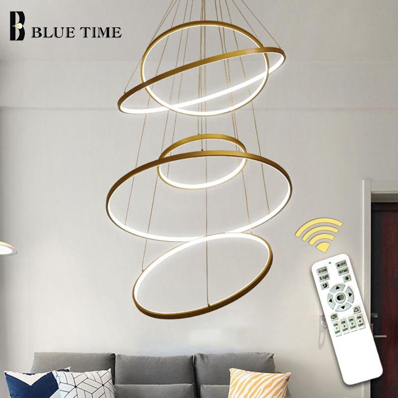 40CM 60CM 80CM Modern Pendant Lights For Living Room Dining Room Circle Rings Acrylic Aluminum Body LED Ceiling Lamp Fixtures