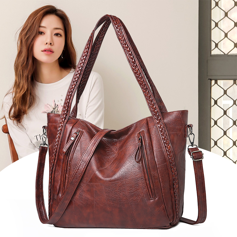 New Brand High Quality Soft Leather Large Pocket Casual Handbag Women's Handbag Shoulder Bag Large Capacity Handbag Black Brown