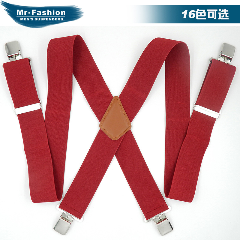 Brand Suspender Strap Europe And America Men Widened 5 Cm Elasticity Suspender Strap Plus-sized For Longer