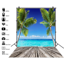Laeacco Tropical Palm Tree Sea Wooden Board Blue Sky Cloud Children Portrait Backgrounds Photography Backdrops For Photo Studio