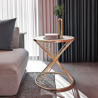 Fashion design round small coffee table modern simple marble sofa side bedside table luxury corner end table