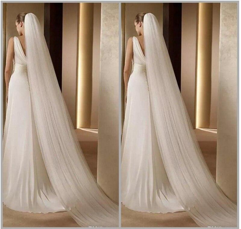 Long Bridal Veil Women's White/Ivory Wedding Veil Simple Bridal Veil With Comb Long Cathedral Veil Velo De Novia  3 Meters Long