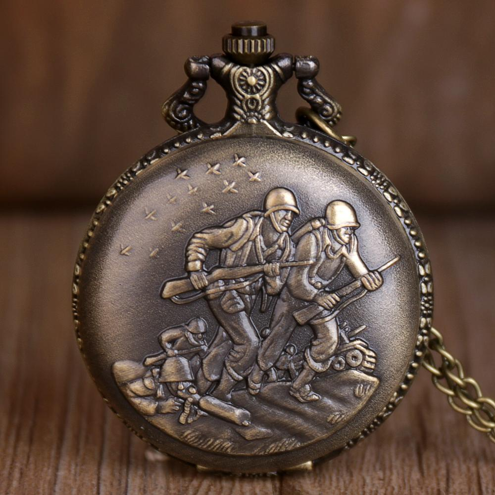 New Bronze Quartz Pocket Watches Fighter War With Fob Chain For Men Women Men Watches CF1075