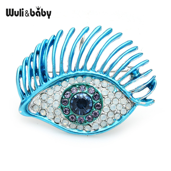 Wuli&baby Charming Long Lash Eyes Brooches For Women Rhinestone 2-color Eyes Party Casual Office Brooch Pins Gifts charming solid color maple leaf brooch pins for women