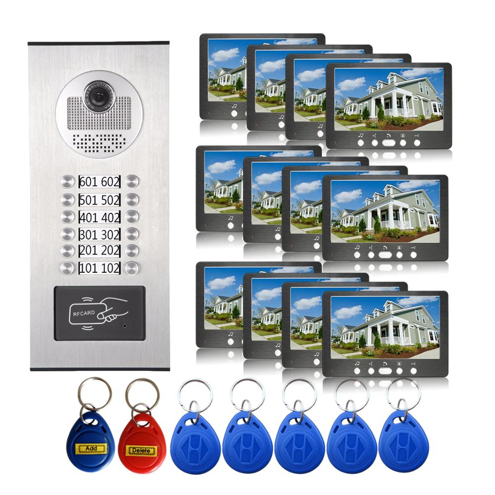 12 Units Apartment Waterproof RFID Camera 7'' Monitor Wired Video Door Phone Visual Video Doorbell Speakerphone Intercom System