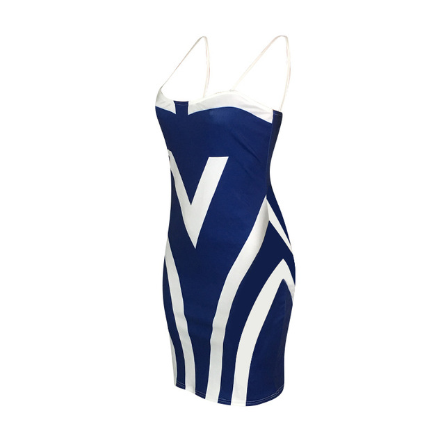 Plus Size Women Sheath Sexy Bodycon Party Summer Dress Spaghetti Strap Sleeveless Backless Patchwork Print Vestidos Robe Femme 4