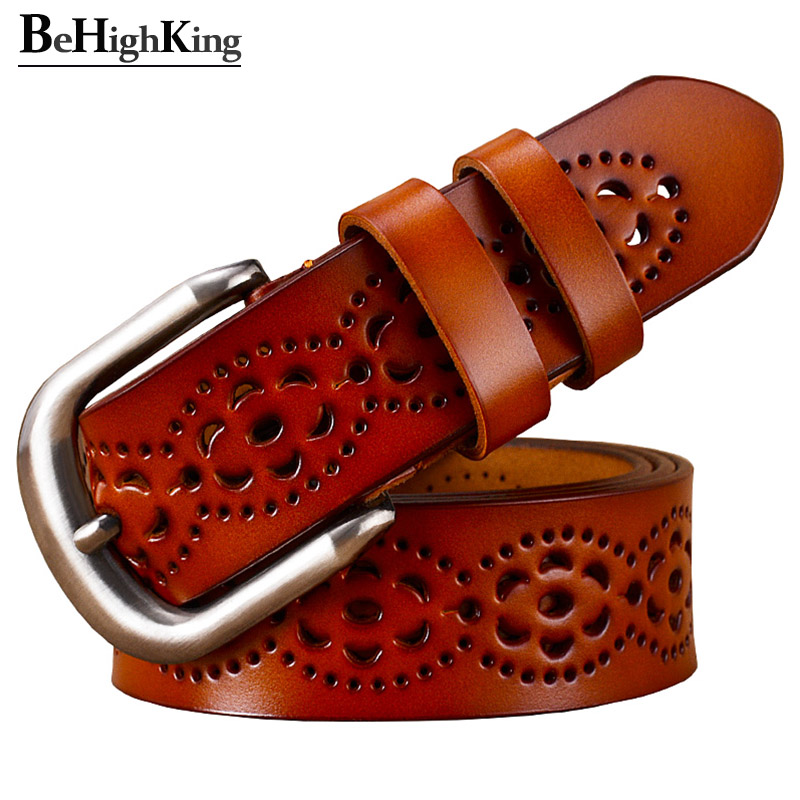 Fashion Genuine Leather Belts For Women Hollow Floral Belt Woman Classic Pin Buckle Cow Skin Strap Female For Jeans Width 3.2 Cm