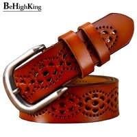 Mode cuir véritable ceintures pour femmes creux ceinture florale femme classique boucle ardillon peau de vache sangle femme pour jean largeur 3.2 cm