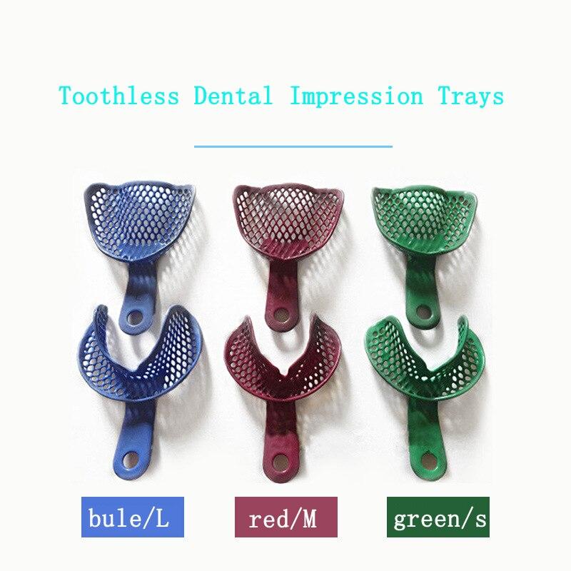 2pc Dental Tray Toothless Dental Impression Trays Mesh Shape Teeth Holder Metal Materials Plastic Oral Tools Teeth Dentures Tool