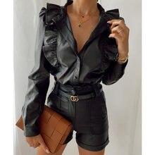 Женская Однотонная рубашка из искусственной кожи блузка винтажные