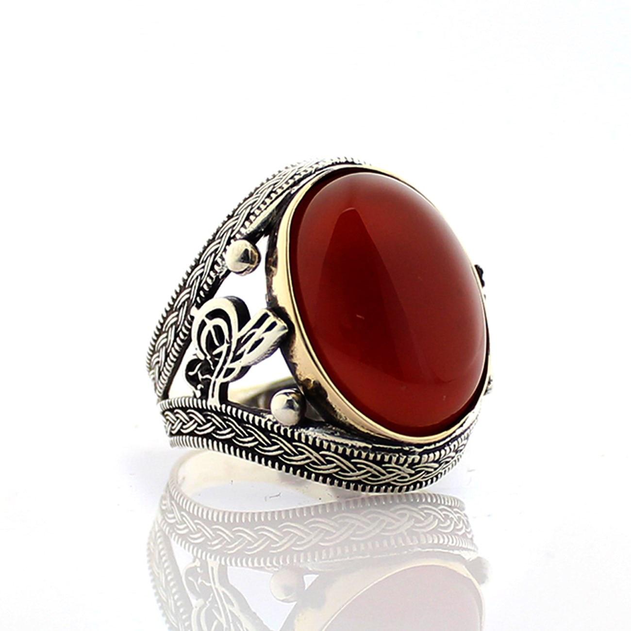 925 bague en argent Sterling pour hommes rouge Aqeq pierre bijoux mode vintage Onyx Zircon cadeau hommes anneaux toutes les tailles (fabriqué en turquie) - 2