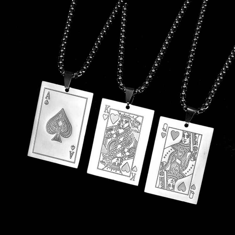 Playing Cards Poker Necklace Men Stainless Steel Ace 10 J Q K A Pendant Necklace Hip Hop Creative <font><b>Couple</b></font> <font><b>Jewelry</b></font> Gift for Lover image