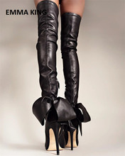 Back Ribbon Bow Thigh High Stretch Boots Ladies Over The Knee Thin Heeled Woman Pointed Toe Chic Cool Stilettos Women