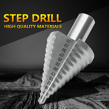 13 step cone drill bits hole cutter bit set 5 35 mm fluted edges hss step drill bit reamer triangle shank wood metal drilling 13 Step Cone Drill Bits Hole Cutter Bit Set 5-35 mm Fluted Edges HSS Step Drill Bit Reamer Triangle Shank Wood Metal Drilling