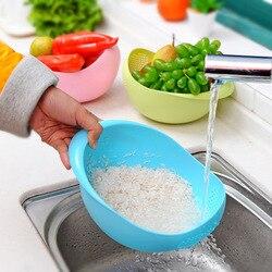 Żywności klasy tworzywa sztucznego ryżu filtr do płukania grochu fasoli sitko zielony różowy kolor kosz sito ociekaczem gadżet czyszczący|Durszlaki i sitka|   -