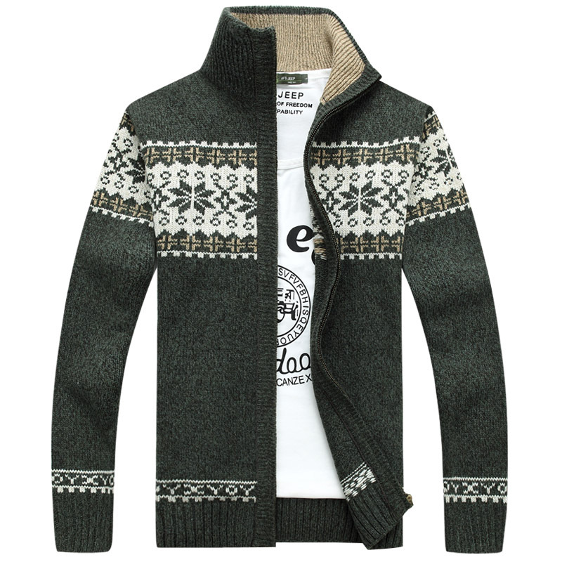 New Cotton Sweater Men Autumn Winter Sweater Top Coats Male Thick Faux Fur Wool Mens Jackets Casual Zipper Knitwear Clothes
