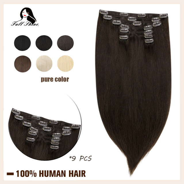 $ US $26.99 Full Shine 9 Pcs 100g Clip in Extensions Human Hair Blonde Color Clip in Hair Double Wefted Machine Made Remy Hair