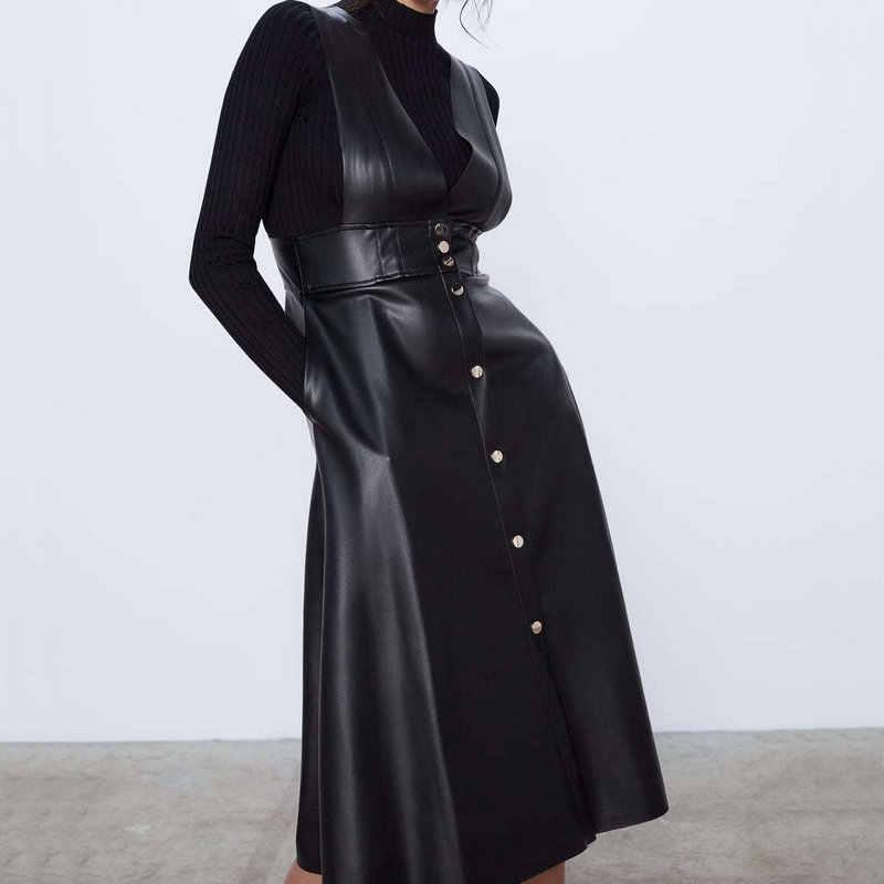 2020 אופנה סתיו חורף נשים Midi אמצע שוק פו עור טנק שמלות משרד גבירותיי אונליין V-צוואר כפתורי כיסי PU שמלה