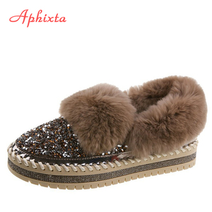 Aphixta Warm Furry Flat Platform Shoes Women Bling Luxury Winter Warm Loafers Crystals Sole 3cm Flats Woman Slip-on Hairry Flats
