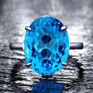 Image 4 - Женское серебряное кольцо с голубым топазом 12*16 мм, кольцо с аквамариновым драгоценным камнем, ювелирное изделие из цельного натурального серебра с драгоценным камнем, ювелирные украшения для помолвки