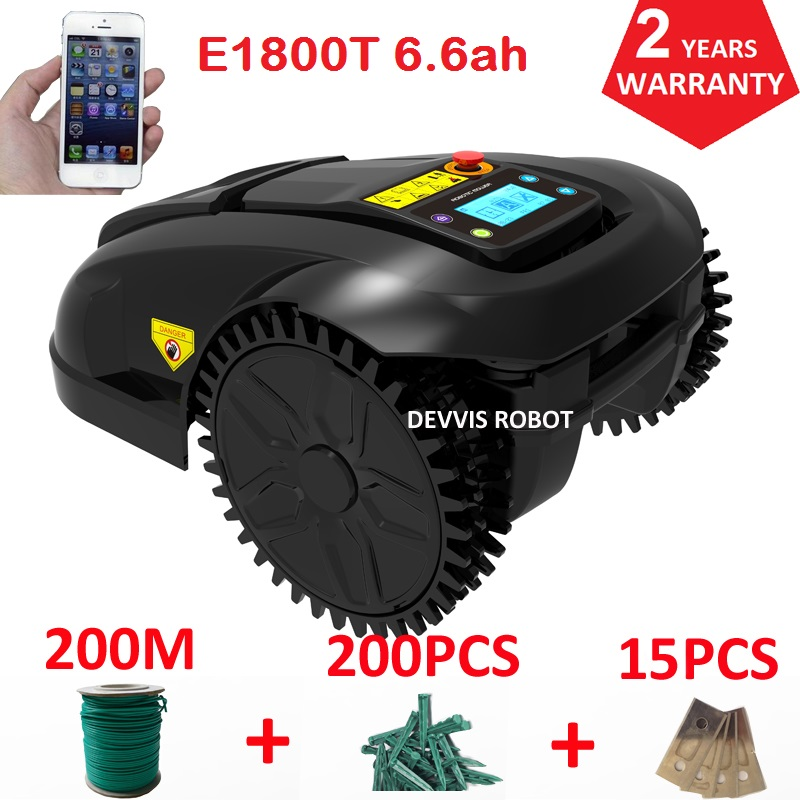 European Warehouse No Tax Automatic Lawn Mower Robot E1800T With 6.6ah Lithuium Battery With 200m Wire+200pcs Pegs+15pcs Blade