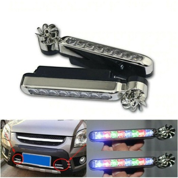 1 Pair 8x LEDs Wind Driven Multiple Colour Car Front Lights with Fan Rotation for Car Fog Warning