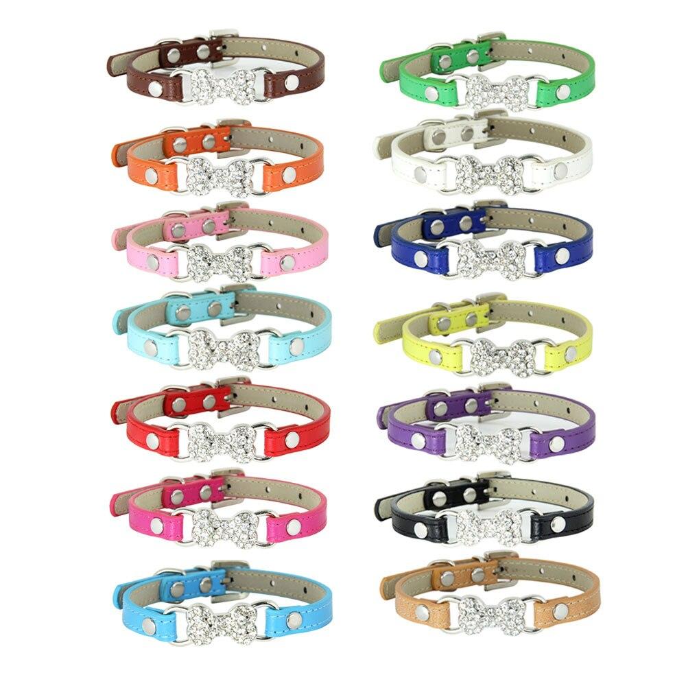 Luxury Crystal Rhinestone Bone-Style PU Fabric Cat Leather Belt Yiwu Pet Collar Traction Rope Dog Neck Ring
