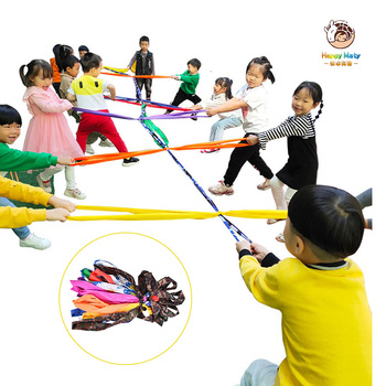 nylon covered 3 8cmx9 meter 1 5x30 combat rope muscle power training rope tug of war rope Happymaty 5.5M Hopscotch Tug of War Rope Kids Teamwork Games Kindergarten Colorful Rally Rope Outdoor Activity Fun Game Toys